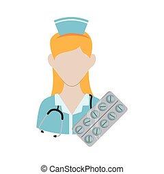 medisch, ontwerp, verpleegkundige, uniform., care