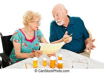 medisch, paar, het bespreken, senior, kosten