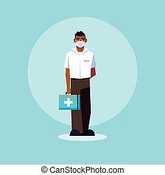 medisch personeel, arts, staand, man