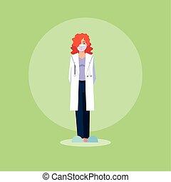 medisch personeel, arts, staand, vrouw