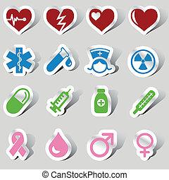 medisch, pictogram, set