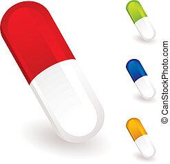 medisch, pillen, verzameling