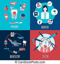 medisch, plat, concept, met, tandheelkunde, infographics