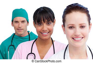 medisch, presentatie, team, multi-etnisch