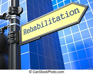 medisch, roadsign., concept., rehabilitatie