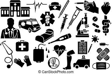 medisch, set, iconen