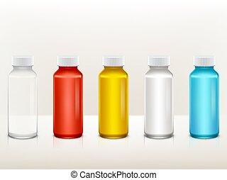 medisch, set, realistisch, plastic, verf , vector, fles