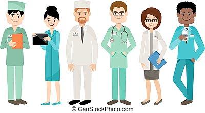 medisch, set, team., doctors.