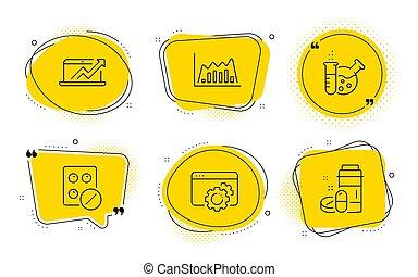 medisch, set., vector, tablet, diagram, signs., laboratorium, seo, omzet, drugs, chemie, grafiek, tandwiel, infographic, iconen