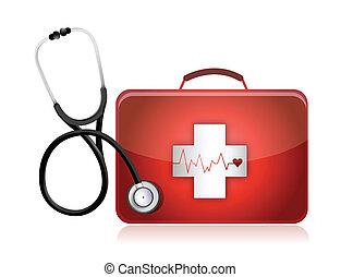 medisch, stethoscope, uitrusting