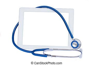 medisch, tablet, met, blauwe , stethoscope