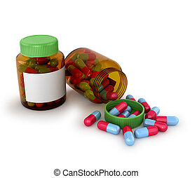 medisch, tabletten, in, een, pot, van, glas, vrijstaand, witte , achtergrond., 3d, illustratie