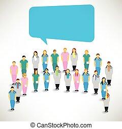 medisch team, bijeenbrengen