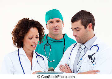 medisch team, in, discussie