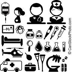 medisch, vector, iconen