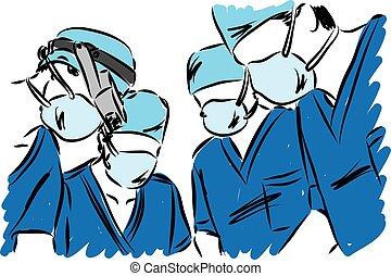 medisch, vector, illustratie, team