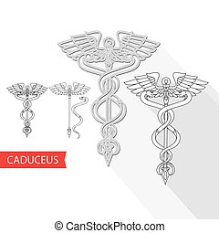 medisch, vector, illustration., symbool., caduceus