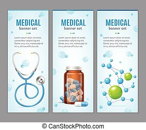 medisch, vector, spandoek, set., verticaal