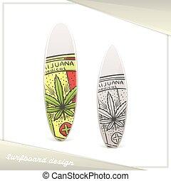 medisch, vijf, marihuana, surfboard