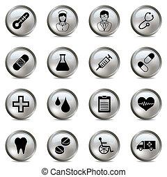 medisch, zilver, iconen, set