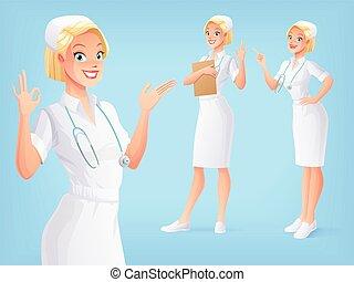medische eenvormig, poses., vector, gevarieerd, het glimlachen, verpleegkundige, set.