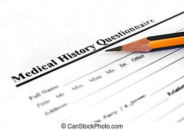 medische geschiedenis, vorm
