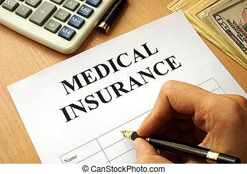 medische verzekering, polis, op, een, tafel.
