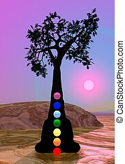 meditação, árvore, chakras, sob