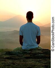 meditação, amanhecer