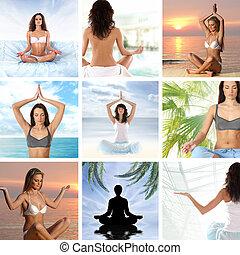 meditação, aproximadamente, saúde, colagem