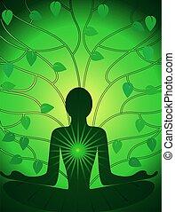 meditação, de, homem
