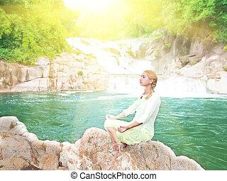 meditação, em, amanhecer, tempo