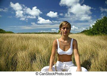 meditação, em, um, campo