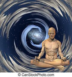 meditação, homem
