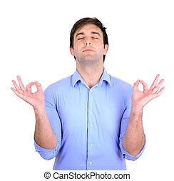 meditação, homem, zen, jovem, modo