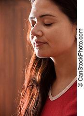 meditação, indianas, menina
