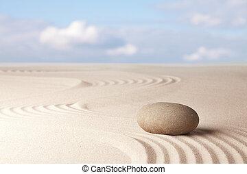 meditação, jardim zen, fundo