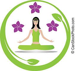 meditação, menina, ioga