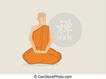 meditação, monge, budista, zen, vetorial, ilustração