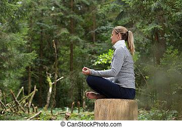 meditação, mulher, floresta, relaxante