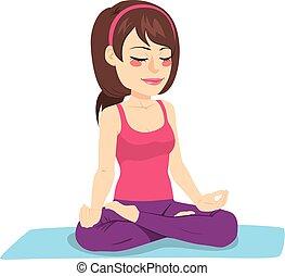 meditação, mulher, ioga