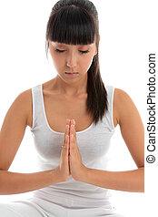 meditação, mulher, quieto