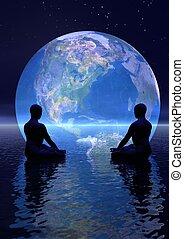 meditação, para, terra