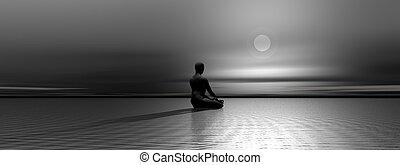 meditação, por, noturna