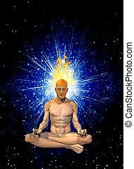 meditação, queimadura, mente