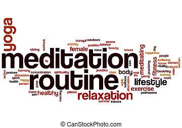 meditação, rotina, palavra, nuvem