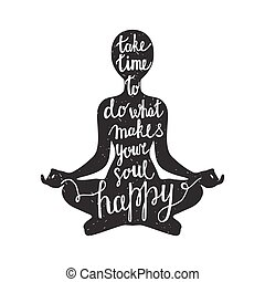 meditação, silueta, citação