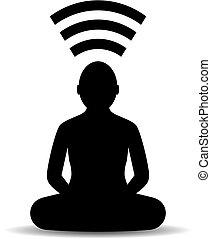 meditação, vetorial, ícone