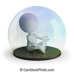 medita, 3d, homem