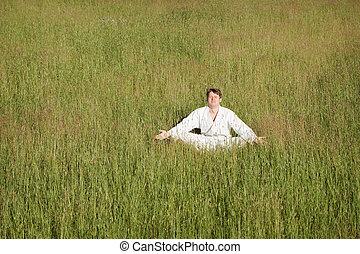 medita, capim, quimono, assento homem